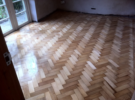 Restored Beech Parquet Block Floor in Cheshire by Woodfloor-Renovations