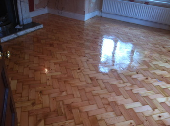 Pine Parquet Block Floor After Bona Traffic HD Applied
