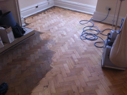 Pine Parquet Flooring Renovated in North Wales by Woodfloor-Renovations