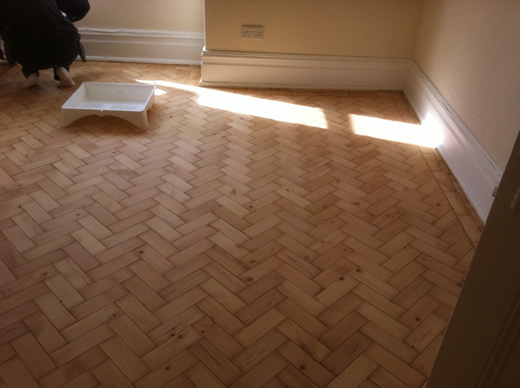 Pine Parquet Floor Restored and REnovated in north wales