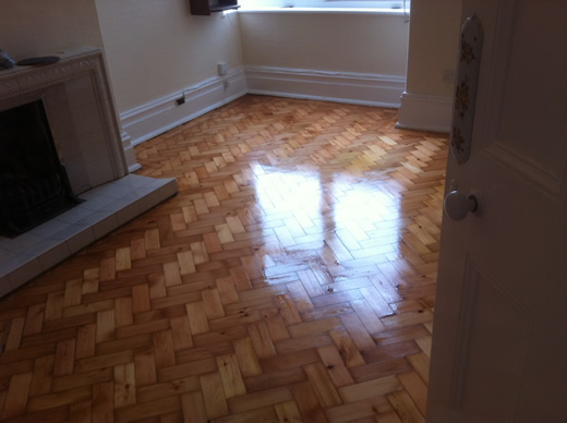 Pine Herringbone Block Parquet Flooring Restoered in North Wales