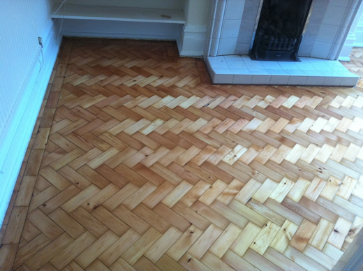 Parquet floor restoration in North Wales