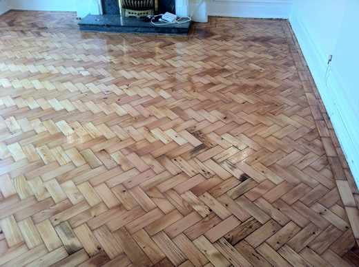 Pine Wood Block Floor Renovation in North Wales