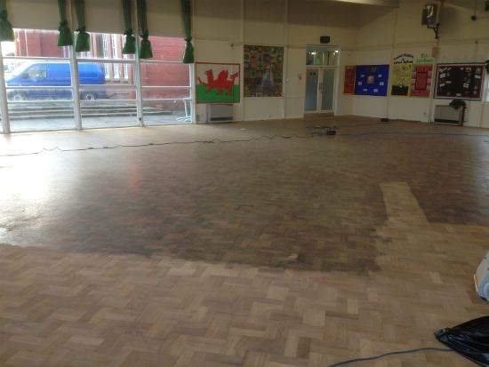 Floor Sanding Rhyl at Ysgol Dewi Sant Welsh Primary School