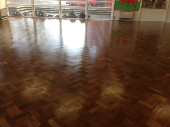 Wood Floor Sanding and Sealing in Rhyl North Wales, prior to the last of 4 coats being applied