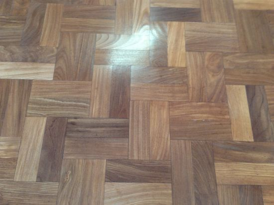 Another Close up of the finished parquet wood block floor