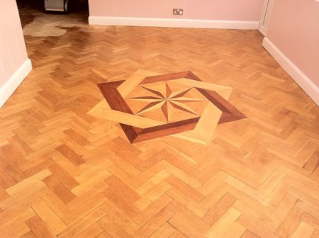 Rustic Oak Parquet Floor With Marquetry Restored in Cheshire