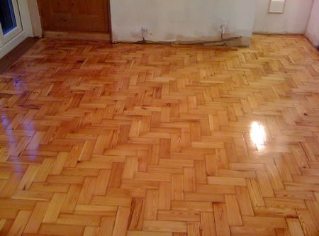 Pitch Pine Parquet Wood Block Flooring Renovated In