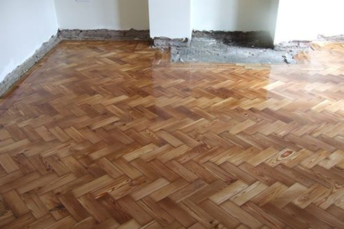 Pitch Pine Parquet Woodblock Flooring Restored in North Wales by Woodfloor-Renovations