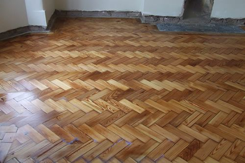 Pitch Pine Herringbone Wood Block Flooring Restoration in North Wales - Pitch Pine Herringbone Parquet Wood Block Flooring Restoration