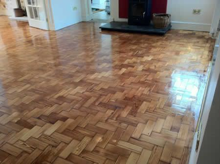Pitch Pine Parquet Floors Restored in North Wales by Woodfloor-Renovations