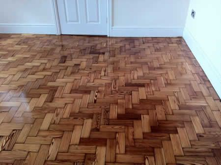Pitch Pine Parquet Block Flooring Restored in North Wales