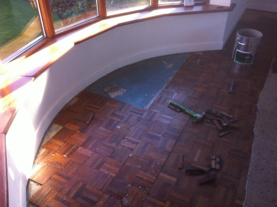 Mahogany Mosaic Finger Parquet Repaired and Restored in Cheshire