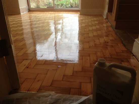 Pine Wood Block Floor Repaired, Sanded and Refinished in Chester, Cheshire
