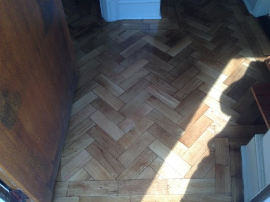 Oak Parquet Block Floor Repaired, Sanded and Refinished in the Conwy Valley, North Wales